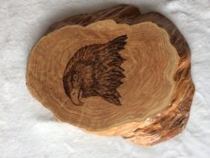wood burnt eagle - pine wood