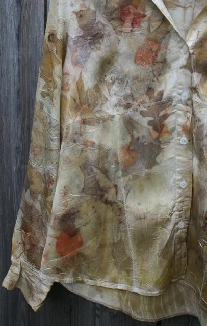 eco-printed silk shirt